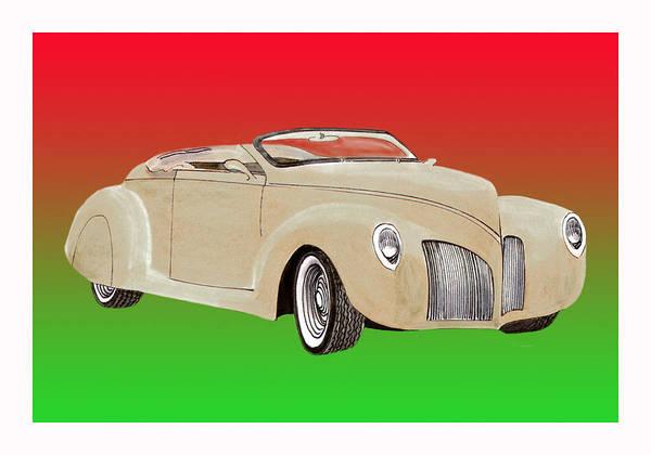 1939 Lincoln Zephyr Replicar By Speedster Poster featuring the painting 1939 Lincoln Zephyr Speedster by Jack Pumphrey