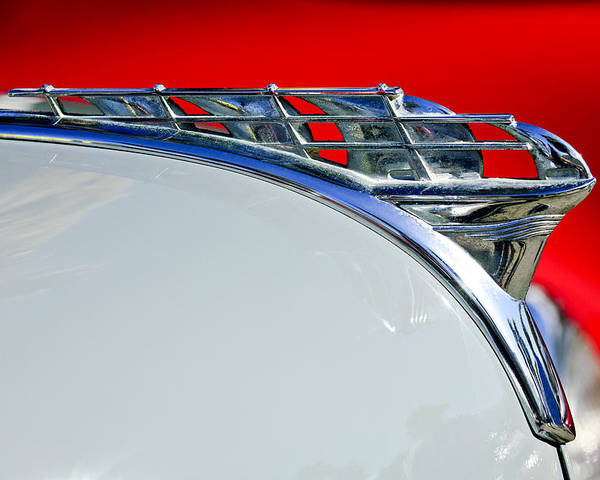 1950 Plymouth Coupe Poster featuring the photograph 1950 Plymouth Hood Ornament 3 by Jill Reger
