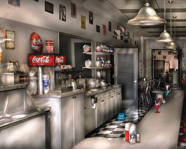Cola Poster featuring the photograph 1950's - The Soda Fountain by Mike Savad