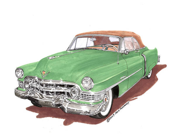 Classic Car Paintings Poster featuring the painting 1951 Cadillac Series 62 Convertible by Jack Pumphrey