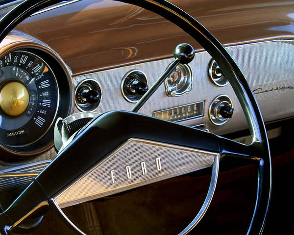 1951 Ford Crestliner Poster featuring the photograph 1951 Ford Crestliner Steering Wheel by Jill Reger
