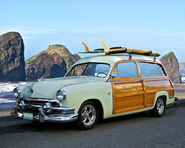Auto Poster featuring the photograph 1951 Ford 'woody' Wagon by Dave Koontz