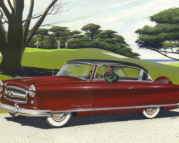 1953 Nash Poster Featuring The Painting Rambler Car Americana Rustic Rural Country Auto Antique