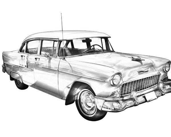 Car Poster featuring the photograph 1955 Chevrolet Bel Air Illustration by Keith Webber Jr
