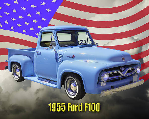1955 F100 Ford Pickup Truck With Us Flag Poster