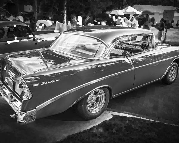 210 Poster featuring the photograph 1956 Chevrolet Bel Air 210 Bw by Rich Franco