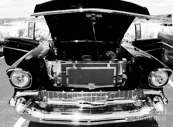 Black And White Hot Rod Photos Poster featuring the photograph 1956 Midnight Black Chevy by Deborah Fay