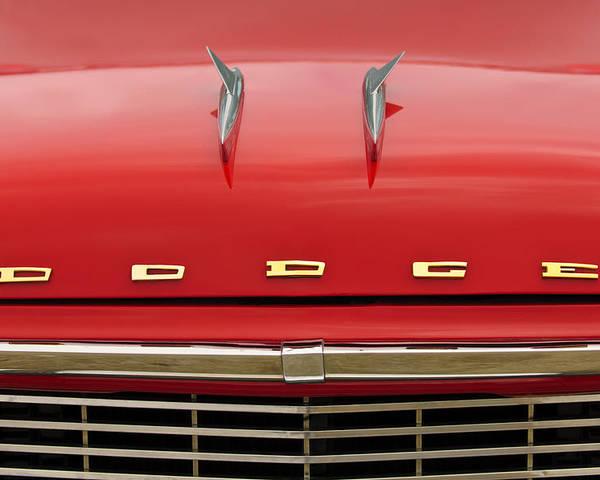 1958 Dodge Coronet Super D-500 Convertible Poster featuring the photograph 1958 Dodge Coronet Super D-500 Convertible Hood Ornament by Jill Reger