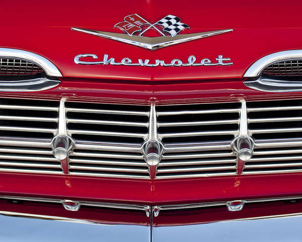 1959 Chevrolet Poster featuring the photograph 1959 Chevrolet Grille Ornament by Jill Reger