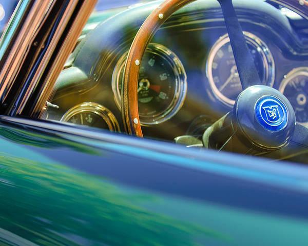 1960 Aston Martin Db4 Series Ii Steering Wheel Poster featuring the photograph 1960 Aston Martin Db4 Series II Steering Wheel by Jill Reger