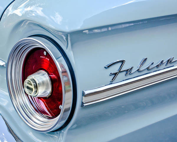1963 Ford Falcon Futura Convertible Taillight Emblem Poster featuring the photograph 1963 Ford Falcon Futura Convertible Taillight Emblem by Jill Reger