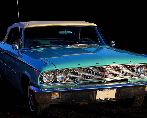 Ford Poster featuring the photograph 1963 Ford Galaxy by Davandra Cribbie