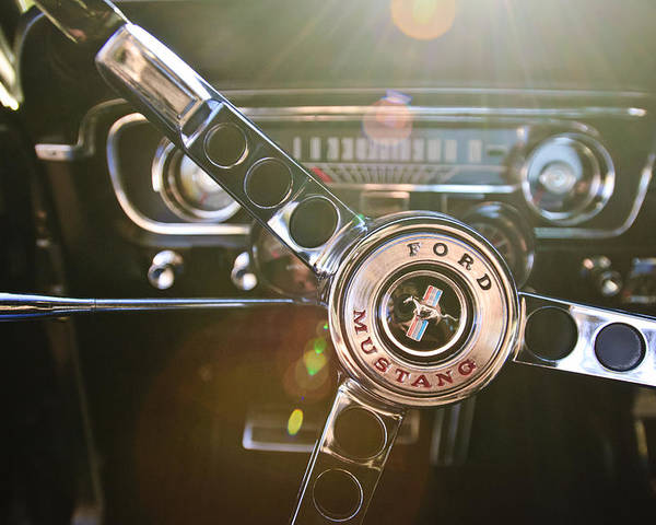 1965 Shelby Prototype Ford Mustang Poster featuring the photograph 1965 Shelby Prototype Ford Mustang Steering Wheel Emblem by Jill Reger