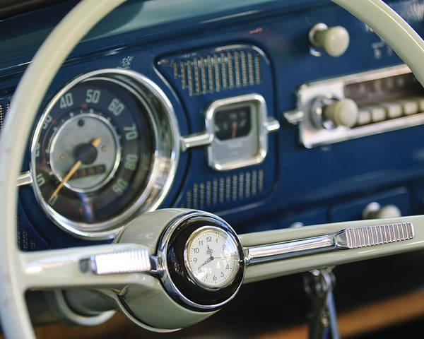 1965 Volkswagen Vw Beetle Poster featuring the photograph 1965 Volkswagen Vw Beetle Steering Wheel by Jill Reger