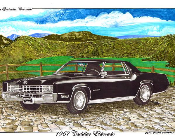 1967 Cadillac Eldorado At Lake Guatavita Poster By Jack Pumphrey