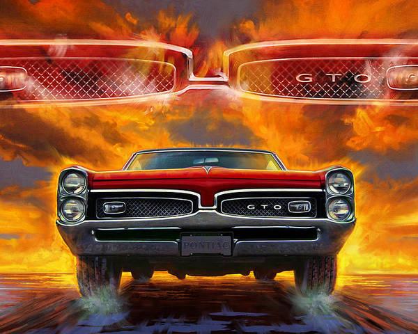 Sunset Poster featuring the digital art 1967 Pontiac Tempest Lemans Gto 1967 by Garth Glazier