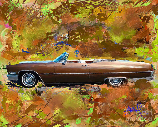 Autos Poster featuring the painting 1968 Cadillac Deville by Donald Pavlica