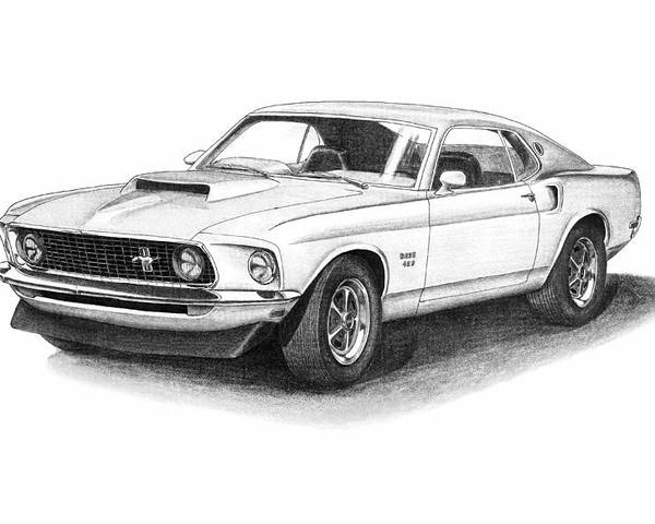1969 Ford Mustang Boss 429 Poster By Nick Toth