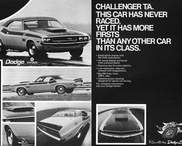 1970 Poster featuring the digital art 1970 Dodge Challenger T/a by Digital Repro Depot