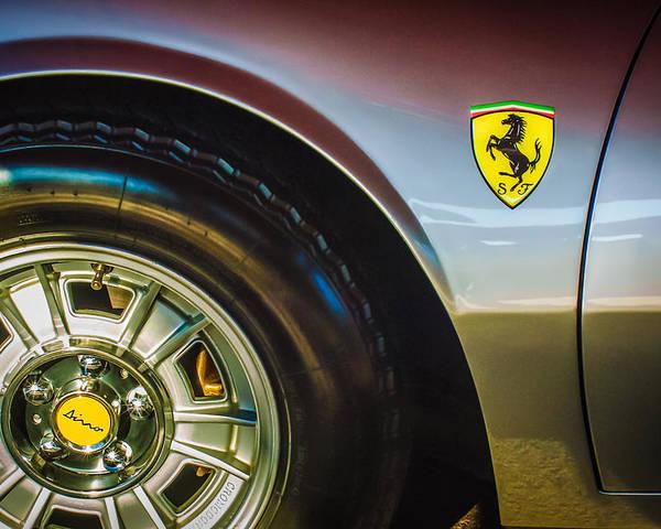 1971 Ferrari Dino Gt Wheel Emblem Poster featuring the photograph 1971 Ferrari Dino Gt Wheel Emblem -027c by Jill Reger