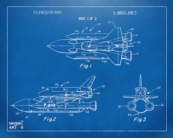 Space Ship Poster featuring the drawing 1975 Space Shuttle Patent - Blueprint by Nikki Marie Smith
