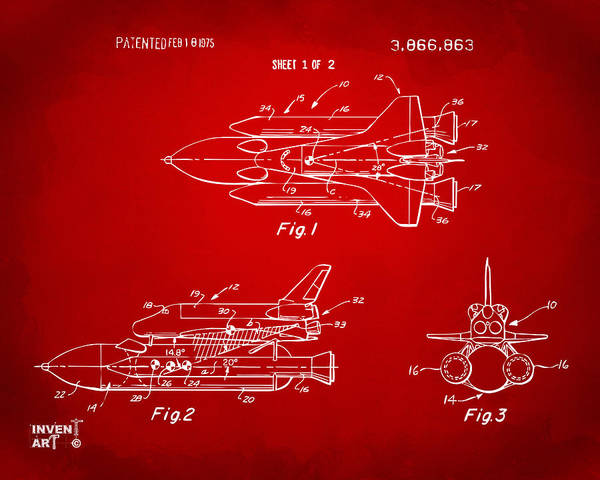 Space Ship Poster featuring the digital art 1975 Space Shuttle Patent - Red by Nikki Marie Smith