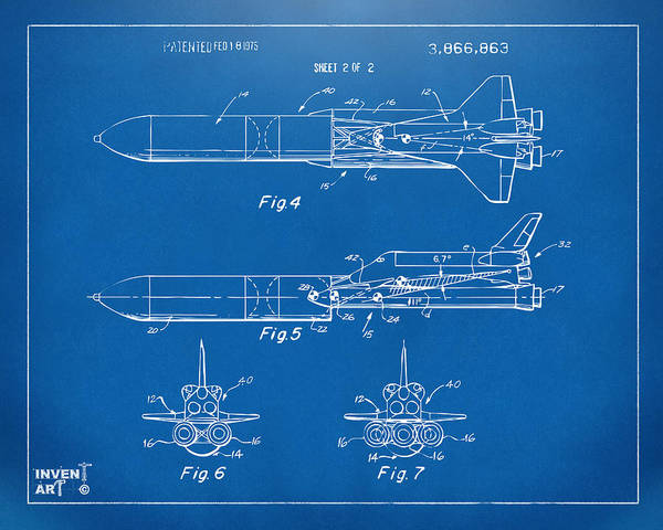 Space Ship Poster featuring the drawing 1975 Space Vehicle Patent - Blueprint by Nikki Marie Smith