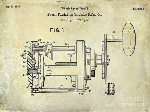 1988 Penn Fishing Reel Patent Drawing Poster By Jon Neidert