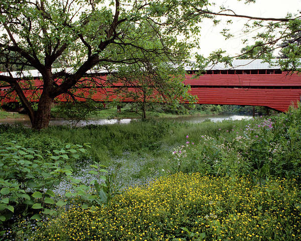 Photography Poster featuring the photograph 1990s Dreibelbis Station Covered Bridge by Vintage Images