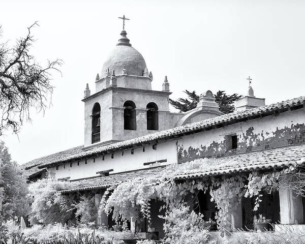 American Poster featuring the photograph Facade Of The Chapel Mission San Carlos Borromeo De Carmelo by Ken Wolter