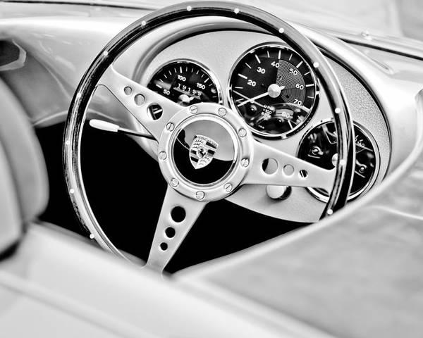 1955 Porsche Spyder Replica Steering Wheel Emblem Poster featuring the photograph 1955 Porsche Spyder Replica Steering Wheel Emblem by Jill Reger