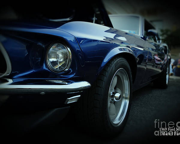 Blue Mustang Poster featuring the photograph 1969 Ford Mustang Mach 1 Fastback by Paul Ward