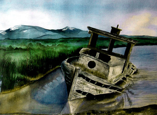 Watercolor Poster featuring the painting Abandoned by Brenda Owen
