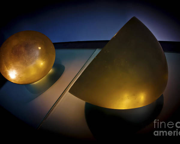 Yellow Poster featuring the photograph Abstract 3d Shapes by Dan Yeger