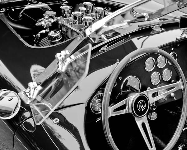 Ac Shelby Cobra Engine - Steering Wheel Poster featuring the photograph Ac Shelby Cobra Engine - Steering Wheel by Jill Reger