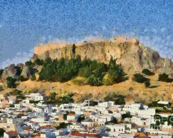 Rhodes Poster featuring the painting Acropolis And Village Of Lindos by George Atsametakis