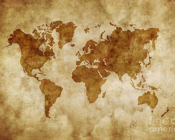 Aged World Map On Dirty Paper Poster by Evgeny Kuklev