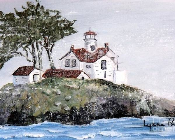 Lighthouse At Crescent City Poster featuring the painting Battery Point Lighthouse by Lynne Parker