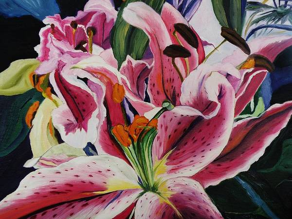 Floral Poster featuring the painting Becky's Lilies by Nancy Milano