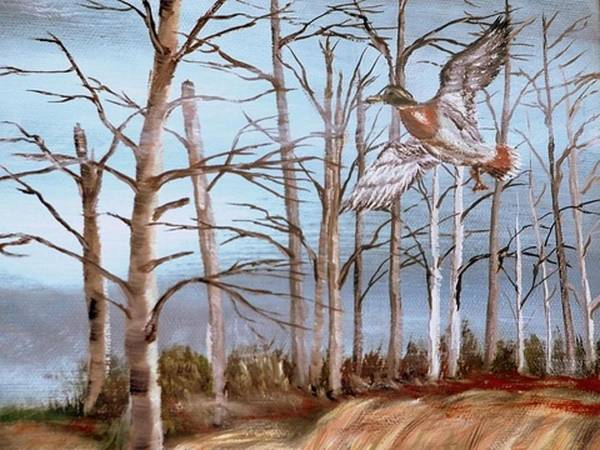 Birds Trees River Lake Landscape Painting Poster featuring the painting Birds Landing by Kenneth LePoidevin