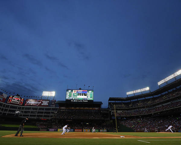 American League Baseball Poster featuring the photograph Boston Red Sox V Texas Rangers by Ronald Martinez