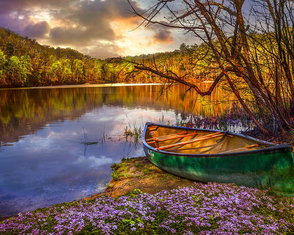 Appalachia Poster featuring the photograph Canoe At The Lake by Debra and Dave Vanderlaan