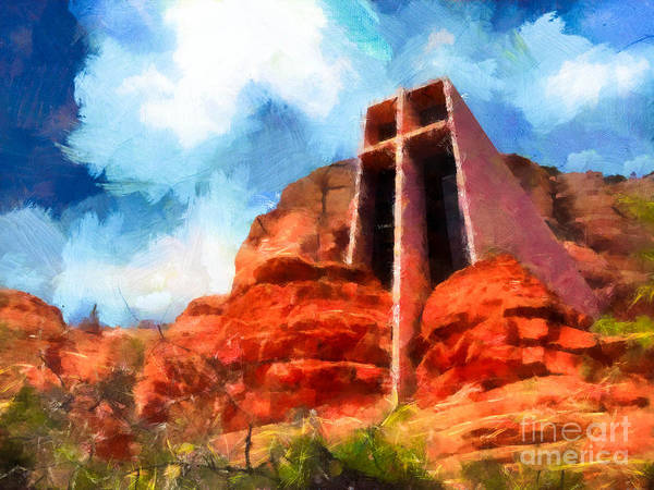 Marguerite Brunswig Staude Poster featuring the photograph Chapel Of The Holy Cross Sedona Arizona Red Rocks by Amy Cicconi