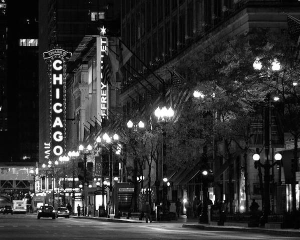 Chicago Poster featuring the photograph Chicago Theatre At Night by Christine Till