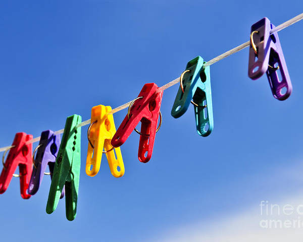 Clothes Poster featuring the photograph Colorful Clothes Pins by Elena Elisseeva