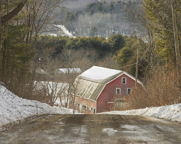 Maine Poster featuring the photograph Country Road And Barn In Winter Maine by Keith Webber Jr