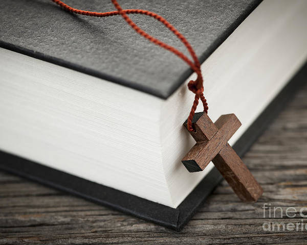 Cross Poster featuring the photograph Cross And Bible by Elena Elisseeva