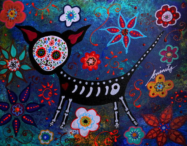 Chihuahua Poster featuring the painting Day Of The Dead Chihuahua by Pristine Cartera Turkus