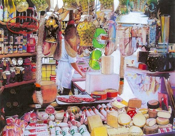 Food Poster featuring the mixed media Deli On The Via Condotti by Constance Drescher