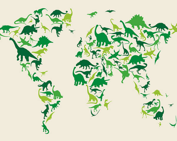 World Map Poster featuring the digital art Dinosaur Map Of The World Map by Michael Tompsett